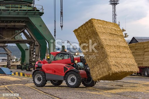Telescopic handler unloading bales from truck. Day view. Work in a port