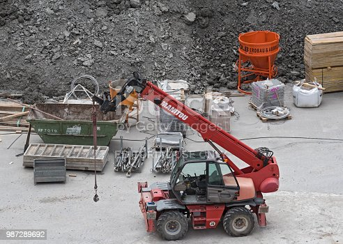 offenbach am main, germany june 19, 2018: telescopic loader on a construction site