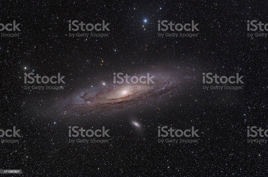 Telescopic photo of the Andromeda Galaxy stock photo