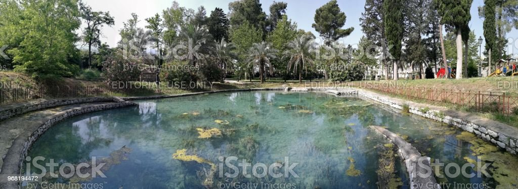 Telese - Overview of the pool of the ancient baths - foto stock