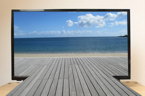 Cтоковое фото Television 3D Coastline Beach Alley covered with wooden planks
