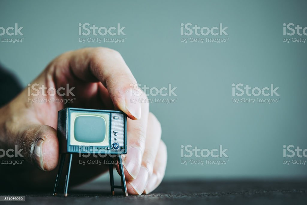 Television and businessman stock photo