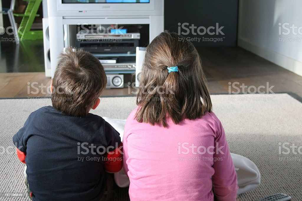 television and children royalty-free stock photo