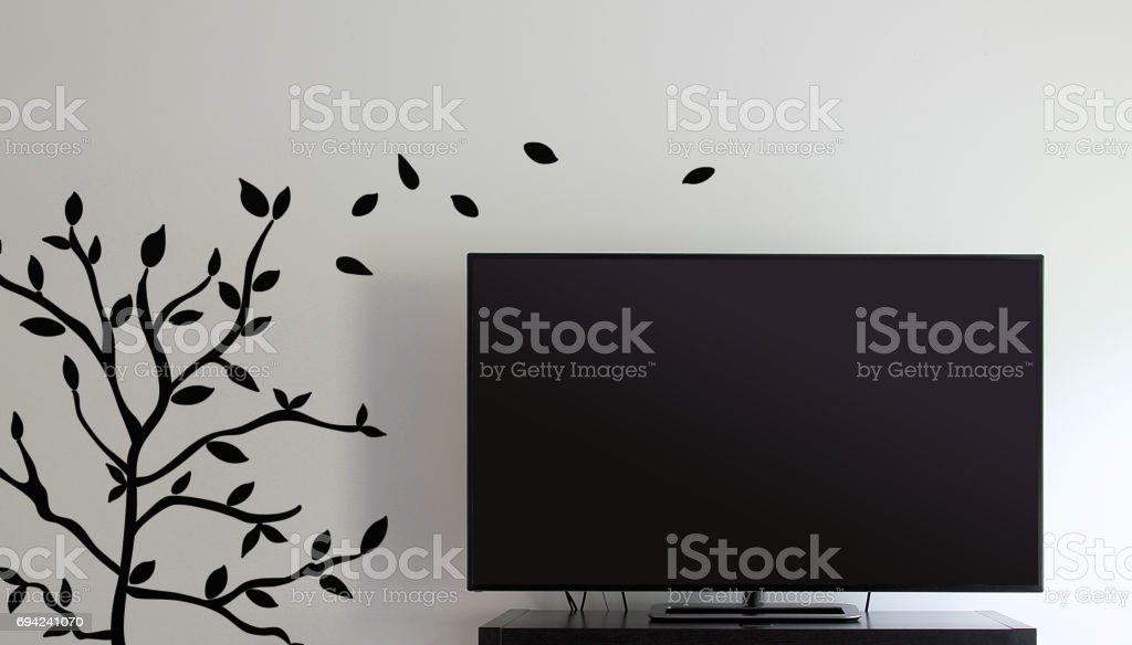 Television and Wall Decor stock photo