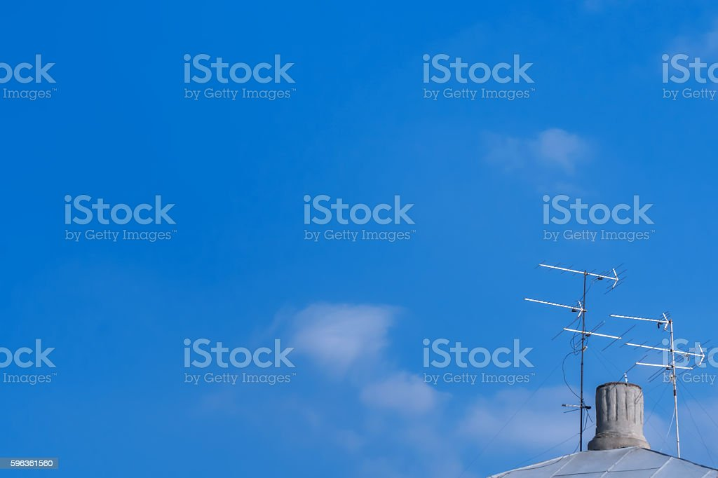 Television antenna on the roof royalty-free stock photo