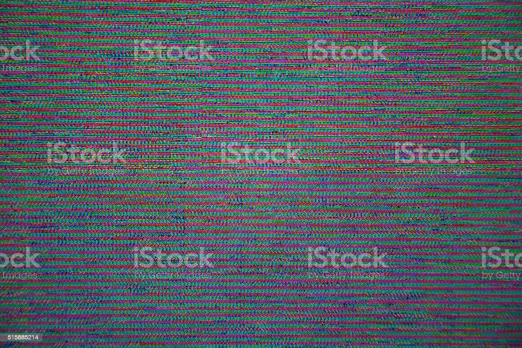 TV LCD Television broadcast digital noise electronic signal graphic failure stock photo