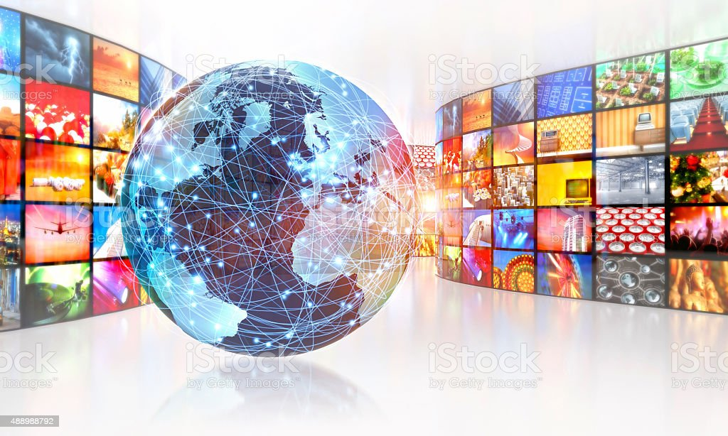 Television broadcasting around the world surrounded by multimedia images stock photo