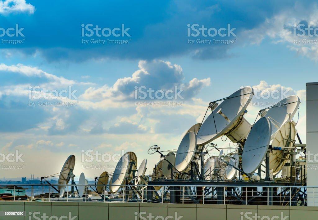 Television broadcasting satalite dish stock photo