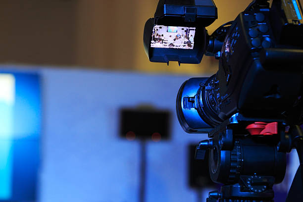 television camera at a conference - digital viewfinder stock photos and pictures