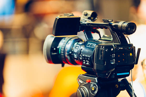 Television camera on event stock photo