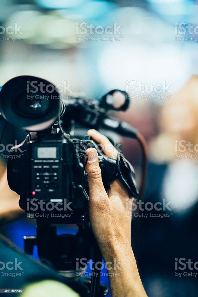 Television camera recording stock photo