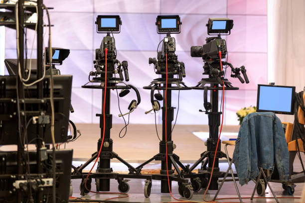 television cameras during the break stock photo
