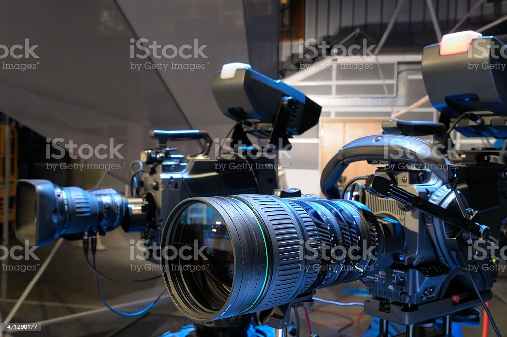Television cameras in TV studio. royalty-free stock photo