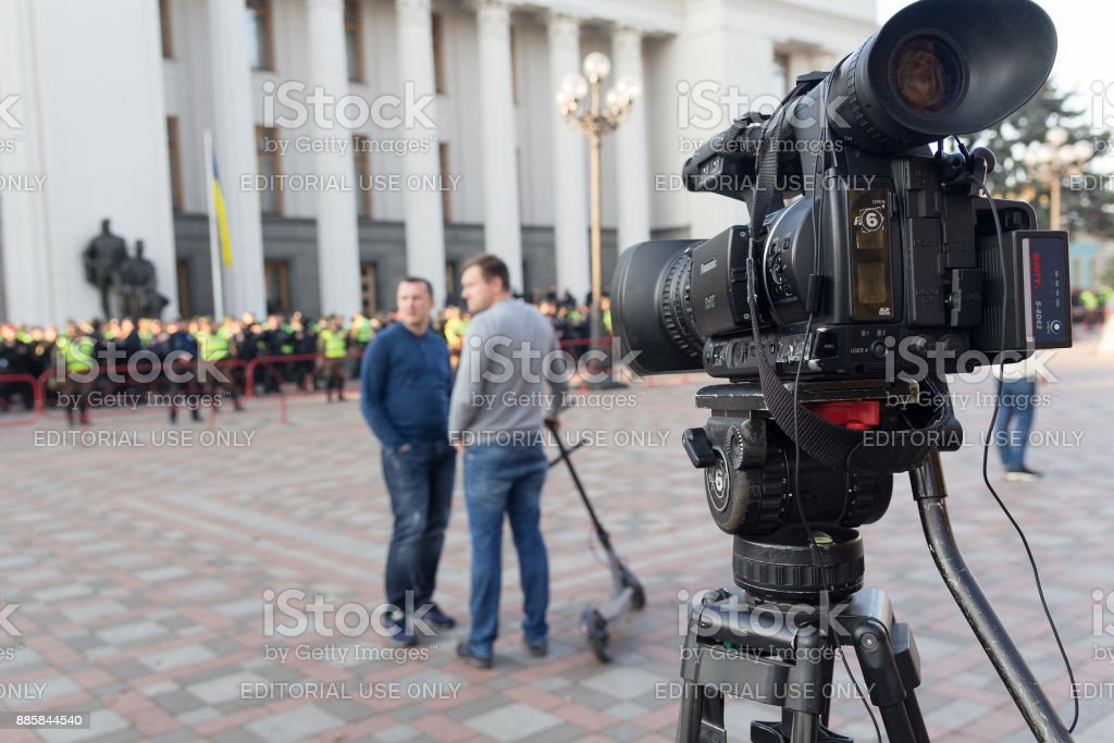 Television cameras on the square in front of the parliament building during the coverage of the political action by the supporter of Mikhail Saakashvili stock photo
