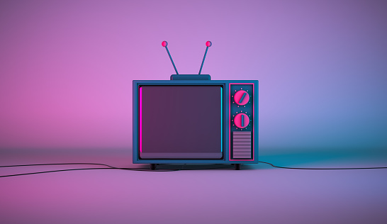 3d rendering, Scene of television cartoon mock up with blank empty space, setting on colorful room and lighting background.