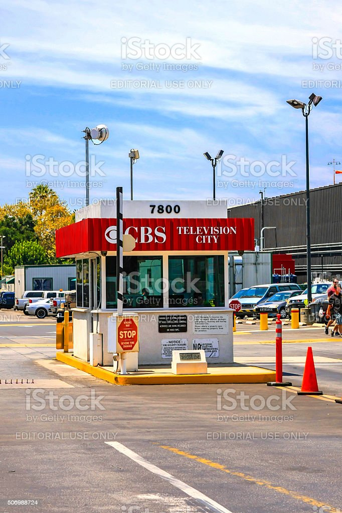 CBS Television City security stop cabin in Los Angeles CA stock photo