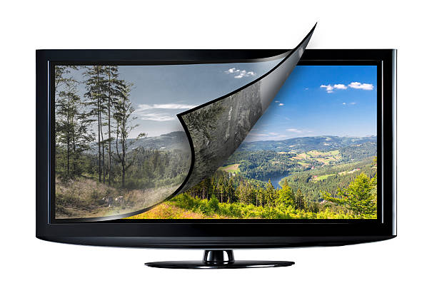 Television display concept. Television display with new technology. Full ultra HD 8k on modern TV. 4k resolution stock pictures, royalty-free photos & images