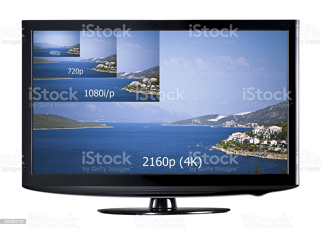 4K television display stock photo
