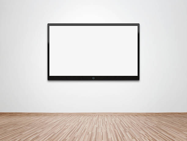 fernseher anzeige weiß hung auf eine weiße wand - große leinwand stock-fotos und bilder
