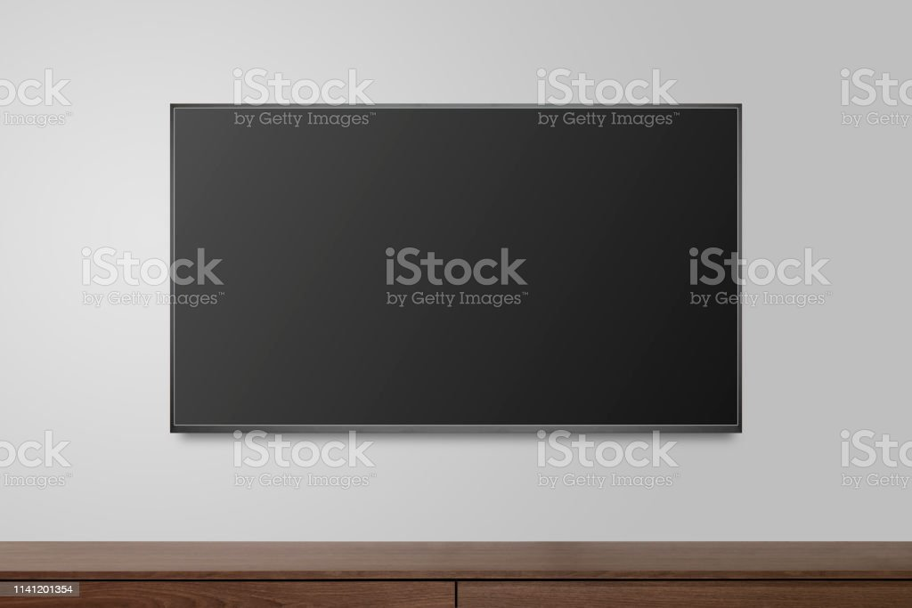 Television on white wall, TV 4K flat screen lcd or oled, plasma...