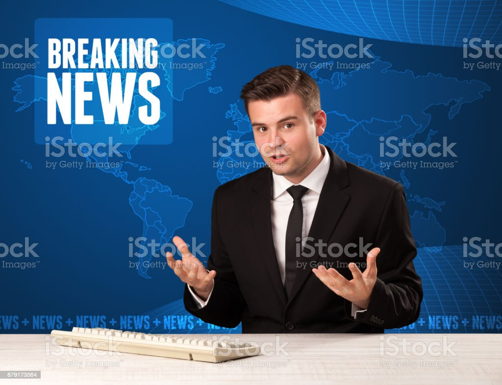 Television presenter in front telling breaking news with blue modern background stock photo