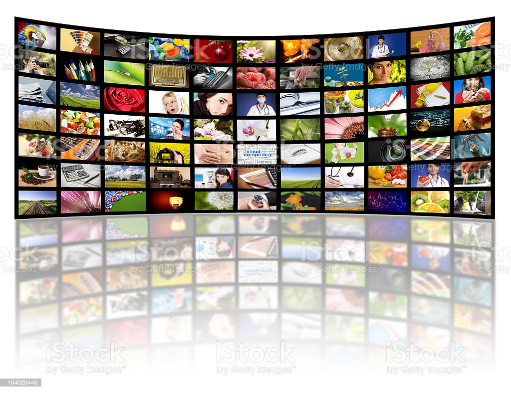 Television production concept. TV movie panels royalty-free stock photo