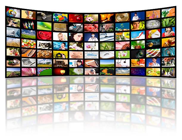 Concepto de producción de televisión.  Paneles de película de televisión - foto de stock