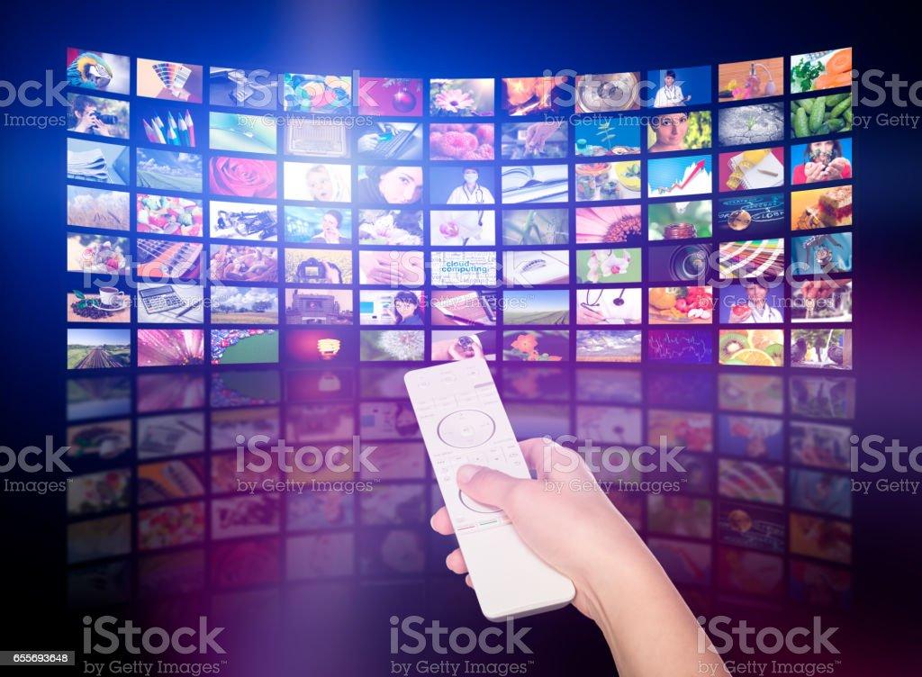 Conceito de produção de televisão.  Painéis de filme de TV - foto de acervo