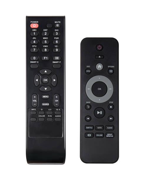 テレビのリモコンは、白で隔離。 - リモート ストックフォトと画像