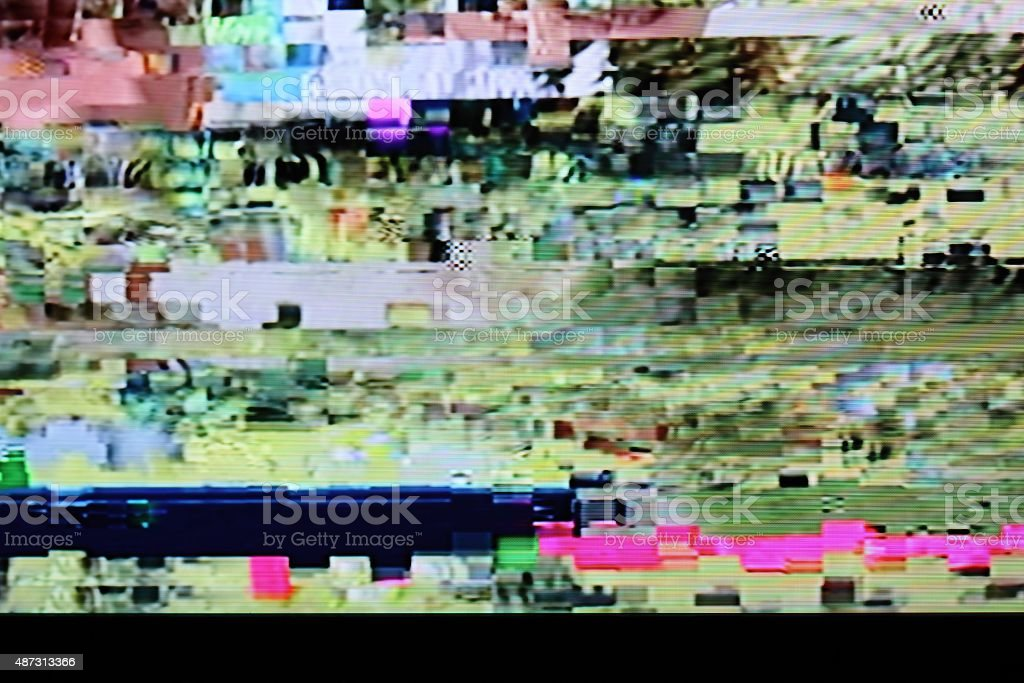 Television screen with static noise stock photo