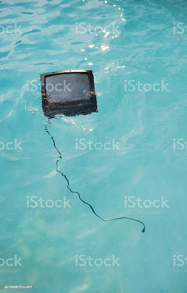 Television set in swimming pool royalty-free stock photo