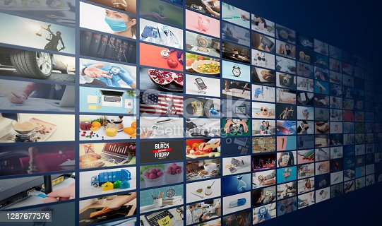 Television streaming, TV broadcast. Multimedia wall concept.