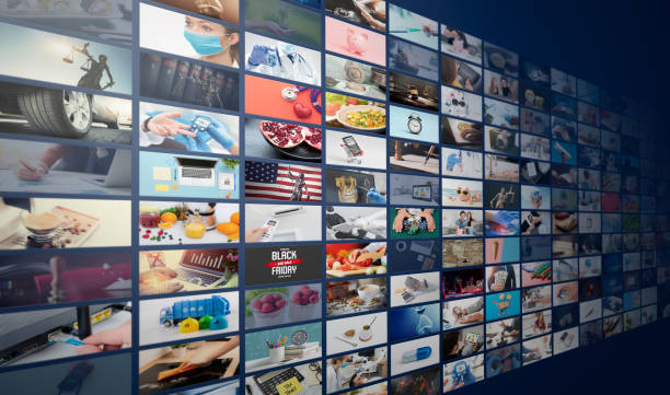 Television streaming, multimedia wall concept stock photo