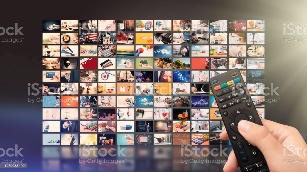 Television streaming video. Media TV on demand stock photo