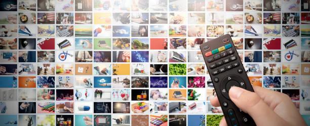 television streaming video. media tv on demand - telecomando background foto e immagini stock