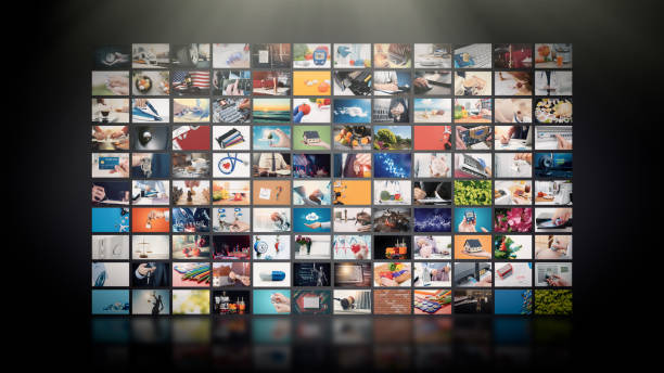 Television streaming video. Media TV on demand Television streaming video concept. Media TV video on demand technology. Video service with internet streaming multimedia shows, series. Digital collage wall of screen abstract composition letterbox format stock pictures, royalty-free photos & images