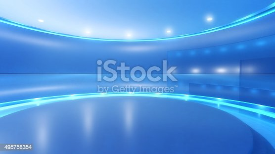 Television studio background for virtual set: empty circular space with blue walls, round elevated stage surrounded by shining lights and reflecting surfaces. Modern design and backdrop for media, broadcasting and entertainment industry. Digitally generated image, copy space.