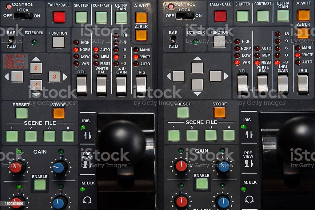 Television studio. Video mixer stock photo