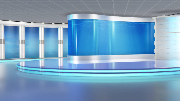 Television studio, virtual set. stock photo