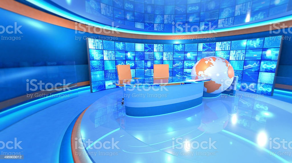 Television studio virtual set, video wall and world map stock photo