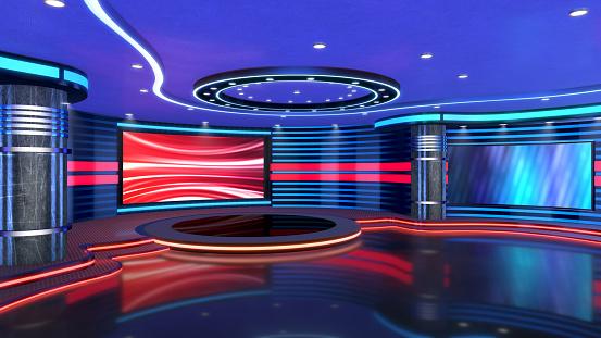 3d virtual studio set, ideal for green screen compositing.
