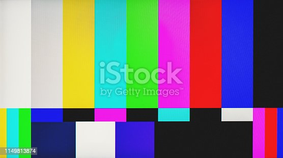 Television test pattern displayed on a CRT television.