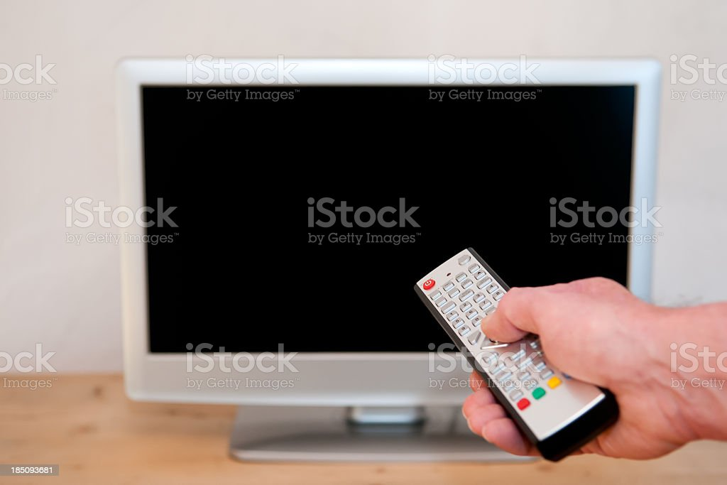 HD television with black screen in a living room stock photo