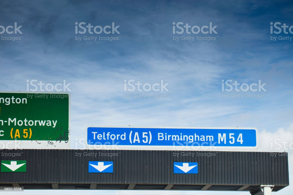Telford road sign stock photo