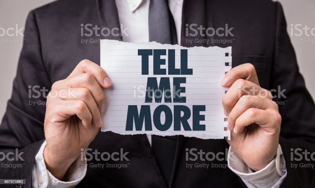 Tell Me More stock photo