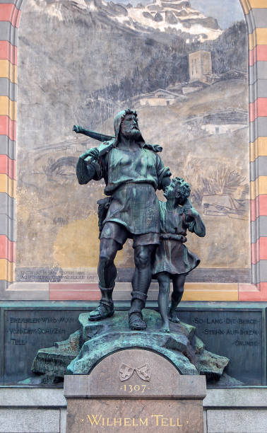 tell monument - altdorf - crossbow stock pictures, royalty-free photos & images