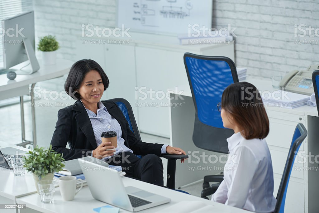 Telling business ideas stock photo