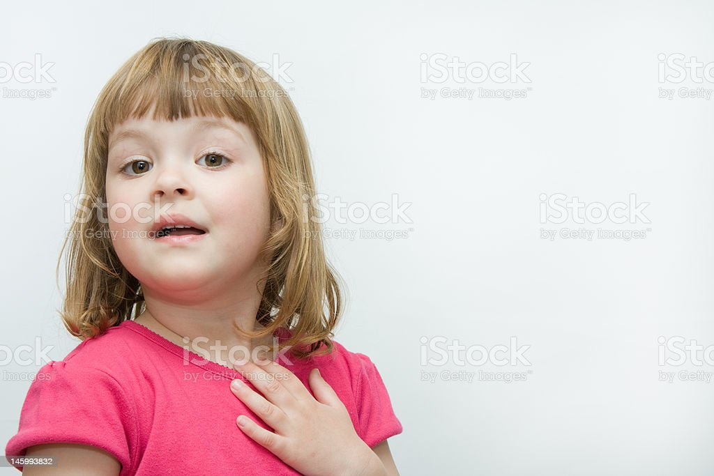 telling the story little, expressive girl telling an interesting story, isolated on white Beautiful People Stock Photo