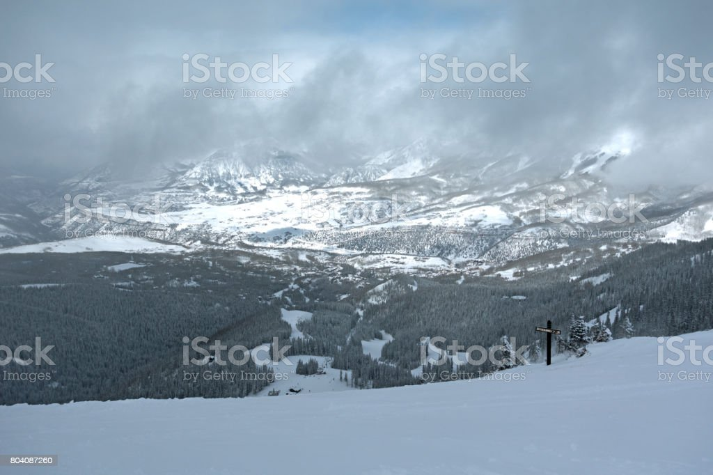 Telluride, Colorado View From Ski Resort Foggy, Partly Sunny Winter Weather stock photo