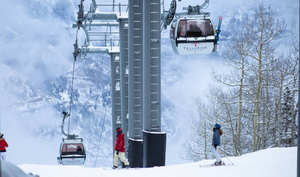 Telluride Gondola Lift over the winter. stock photo